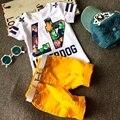 2016 Crianças de Moda Terno Número 47 Roupas Menino de Manga Curta camisa com Shorts Cinto 3 pcs Crachá Buraco T-shirt Calças de Crianças vestuário