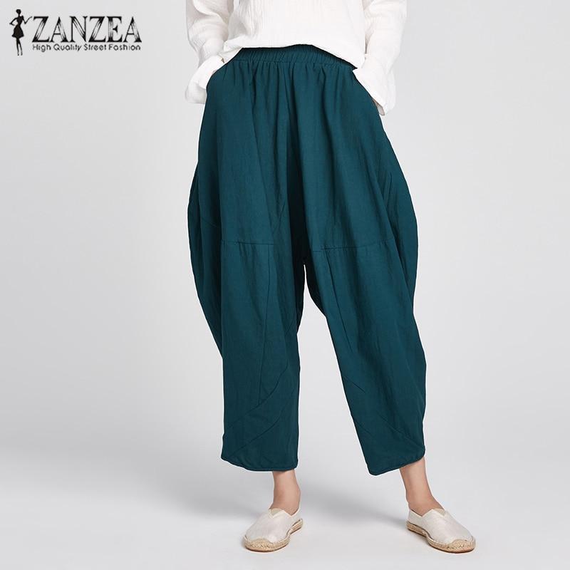 ZANZEA 2018 Spring Women Elastic Waist Harem Pants Casual Pockets Solid Cotton Linen Long Wide Leg Pants Loose Trouser Plus Size