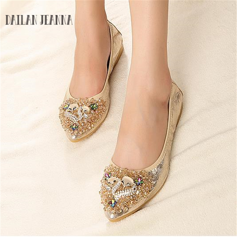 Dailan Jeanna Women Crystal Ballet Flats Size 31-43 2017 Spring Solid Gold Bling Cloth Pointed Toe Slip-On Flat Shoes Woman meotina women flat shoes ankle strap flats pointed toe ballet shoes two piece ladies flats beading causal shoes beige size 34 43