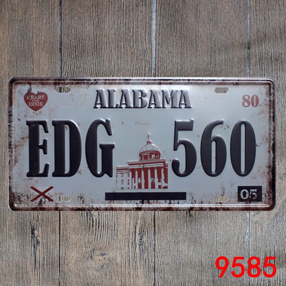 Car number  ALABAMA EDG-560  License Plates plate Vintage Metal tin sign Wall art craft painting 15x30cm