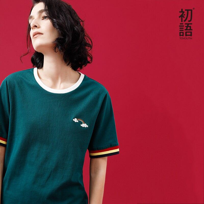 Toyouth 2018 Estate Nuovo O-Collo Del Modello Della Banda Del Ricamo T-Shirt In Cotone Sciolto Maniche Corte Haut Femme Chic Harajuku Magliette e camicette Femminile