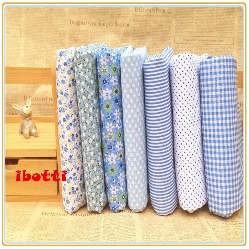 2575e8888 Ibotti 7 unids 50x50 cm azul floral dot Grid 100% algodón Telas Costura DIY  de la muñeca de Tilda el tejido del remiendo