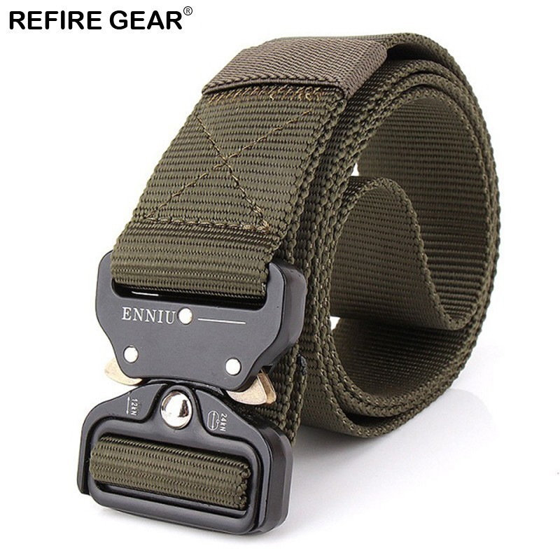 Refire Gear Outdoor Survival Combat Belts Men Metal Buckle Heavy Duty Tactical Nylon Waist Belts Paintball Hiking Army Strap