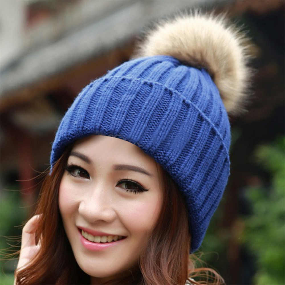 6b8e059258e NEW Winter Women s Beanies 2017 Knitted Candy Color Cap Crochet Hats  Artificial Fur Pompons Curling Ear