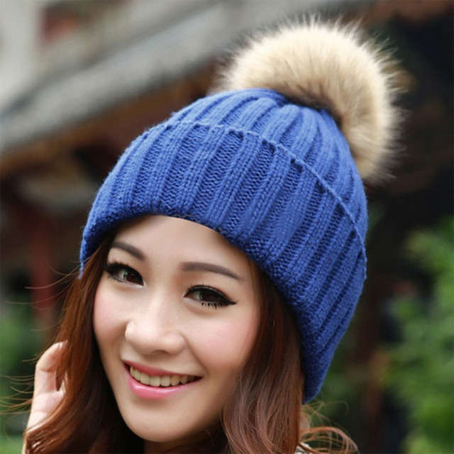 NEW Winter Women's Beanies 2017 Knitted Candy Color Cap Crochet Hats Artificial Fur Pompons Curling Ear Protect Casual Beanies