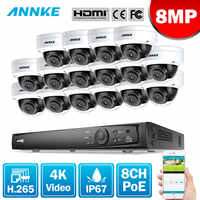 ANNKE 16CH 4K Ultra HD POE Network Video Security System 8MP H.265 NVR With 16X 8MP 30m EXIR Night Vision Weatherproof IP Camera