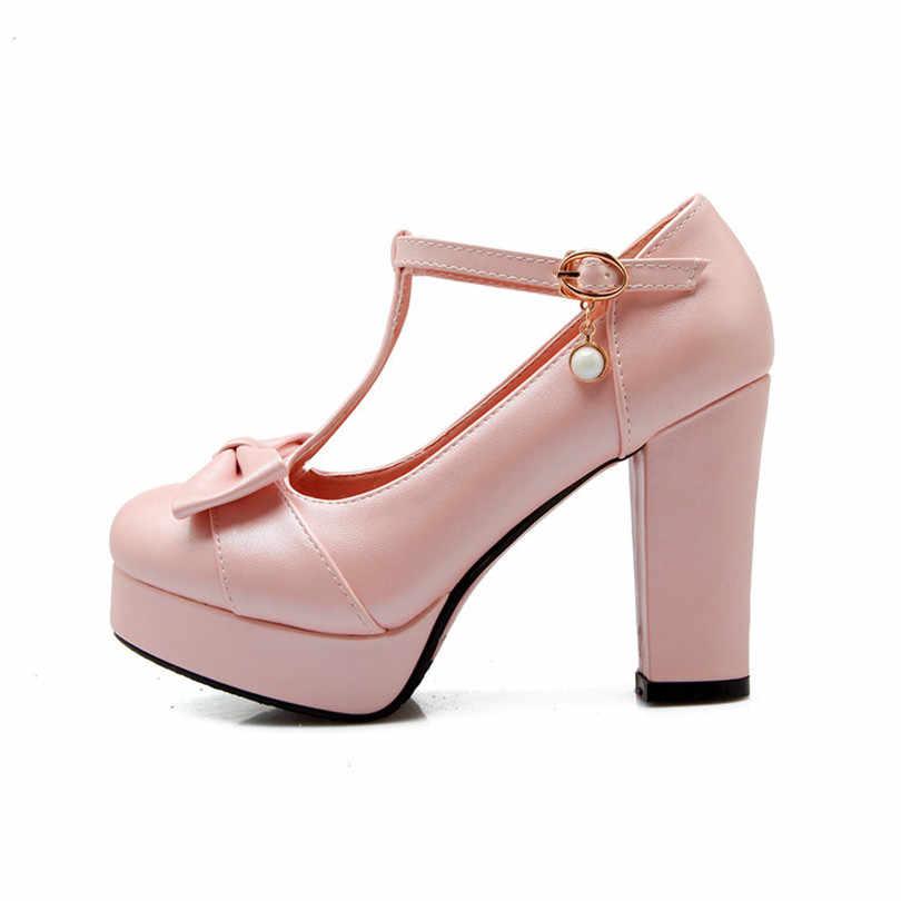 LÂM VUA Gợi Cảm Gót Vuông Nữ Bơm T-Dây Mũi Tròn Đế Giày Size Lớn Bé Gái Khóa Nơ Công Sở sự nghiệp Đảng Máy Bơm