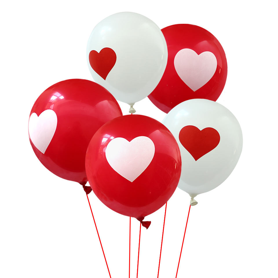 HUADODO 12inch 20Pcs Heart Balloons Red White Round Latex Balloon For Birthday Party Wedding Decoration