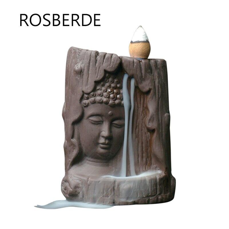 Backflow Incense Burner Buddha Statue Home Decor Ceramic Ornaments Incense Base Sandlewood Incense 20pc