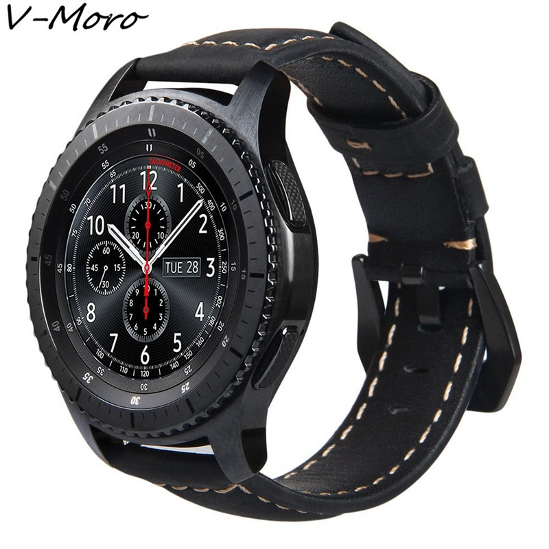 Gear S3 WatchBand V-MORO 22MM Genuine Leather Watch Band For Samsung Gear S3 Band Replacement Bracelet Gear S3 Classic Frontier смарт часы samsung gear s2 black