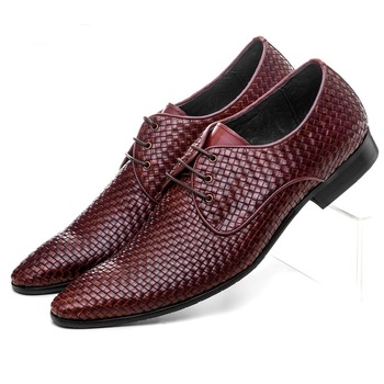 Quality woven design pointed toe mens business shoes genuine leather dress shoes mens formal wedding shoes Formal Shoes