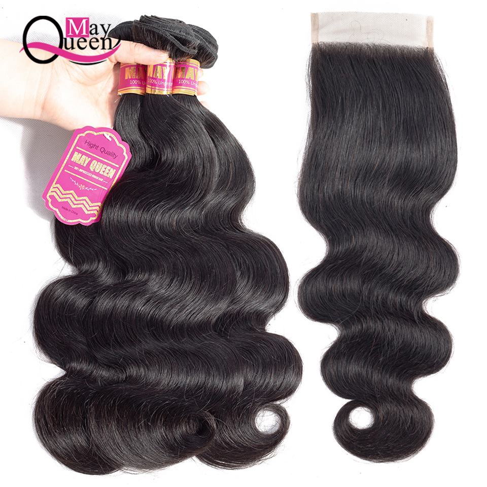 MayQueen Brazilian Body Wave With Closure 100% Human Hair Weave 8-26inch 3 Bundles With Closure Remy Human Hair Extensions