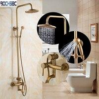 Bochsbc Винтаж дома Ванная комната набор для душа все Медь Золото Круглый Ванная комната дождь Насадки для душа набор продуктов античная латун