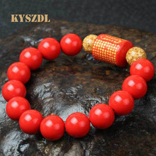 все цены на Ethnic style Natural cinnabar Bead The Heart Sutra Bracelet Ensure the safety of evil be very choosy Gifts for men and women онлайн