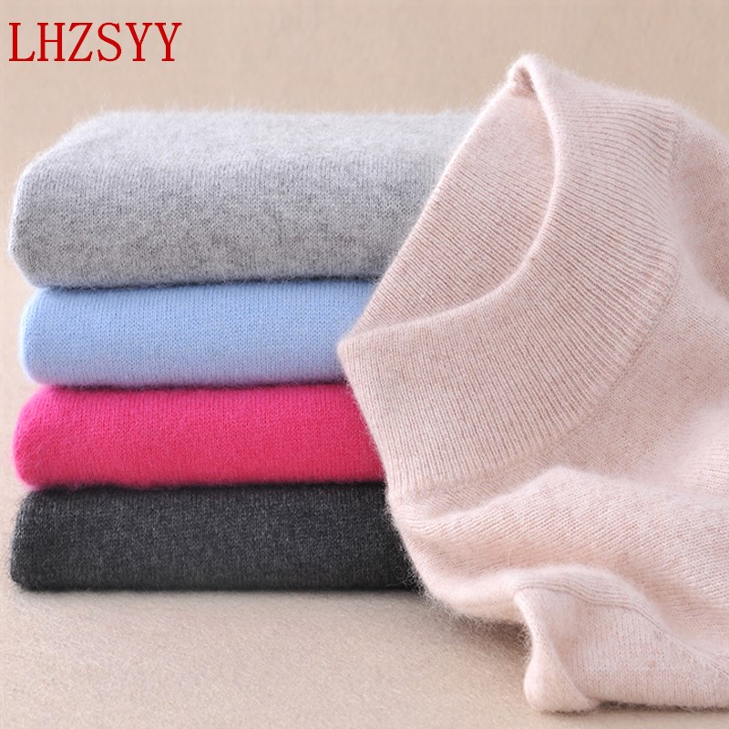 LHZSYY 2019 Women's Sweater Fashion Slim Solid Autumn And Winter Warm Knit Turtleneck Pullover Sweater Women 22 Color Selection