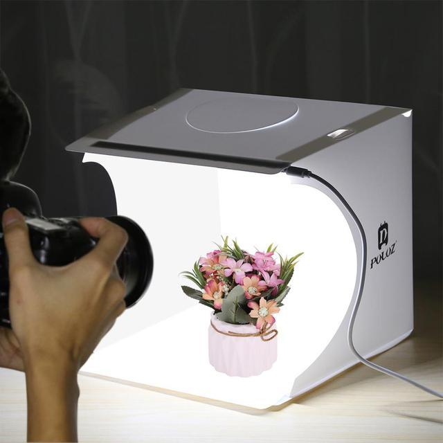 """PULUZ 2 LED Panels Mini Folding Studio 8"""" Diffuse Soft Box Lightbox with Black White Photography Background Photo Studio box"""