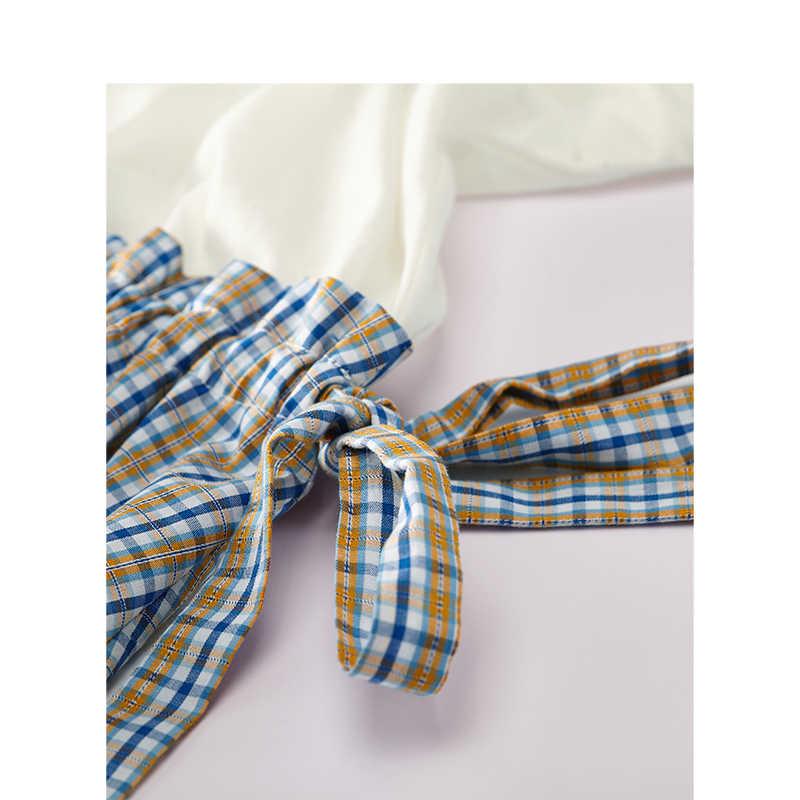INMAN 2019 Лето Новое поступление o-образным вырезом рукав летучая мышь Однотонная футболка сплайтс плед подчеркивающий талию женское платье