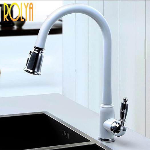2016 New Arrival Patent Design Polished Copper Water Saving Filter Swivel High Quality Sink Mixer White
