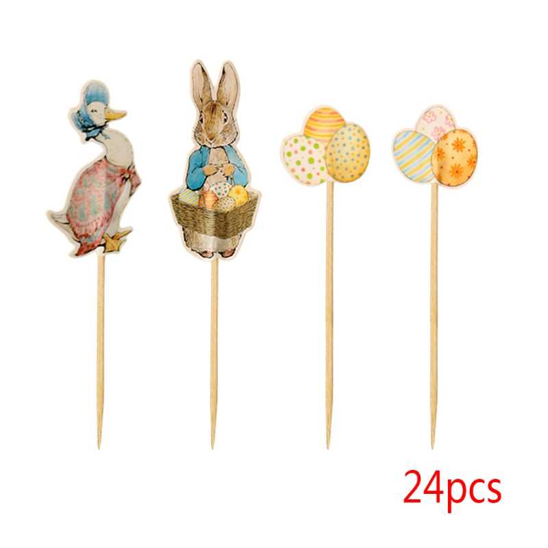 Easter Bunny Cake Cupcake Toppers Rabbit Duck Egg Party Supplies Kid 24Pcs Picks  cor Gifts