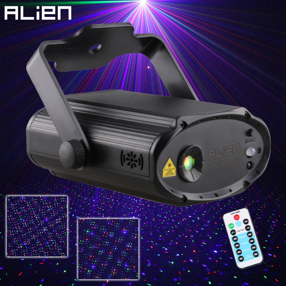 ALIEN Remote RGB Star Dots Stage Laser Projector Lighting Effect DJ Disco Party Club Bar Family Holiday Christmas Show Lights kx dm11 projector dj disco light mp3 remote stage laser lighting show party christmas black