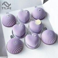 TTLIFE новый форма для торта, Мусса 8 отверстий сердце силиконовые формы для тортов мусс французский десерт плесень Выпечка инструменты дропши...