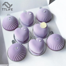 TTLIFE New Mousse Cake Mould 8 Holes Heart Silicone Molds For Cakes French Dessert Mold Pastry Baking Tools