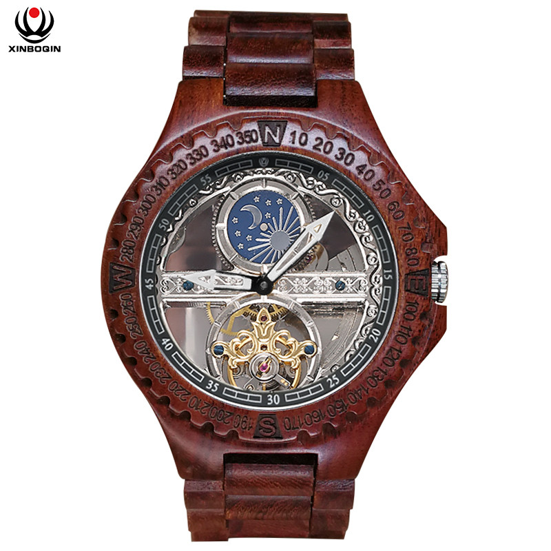 XINBOQIN Men Automatic Mechanical Watches Wood Vintage Big Size Wristwatch Waterproof Men's Simple Mechanical Wristwatches 6608