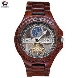 XINBOQIN mężczyźni automatyczne zegarki mechaniczne drewna w stylu Vintage  duży rozmiar  zegarek wodoodporny męskie proste mechaniczne zegarki na rękę 6608