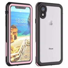 For iPhone XR Waterproof case life water Shock Dirt Snow Proof Protection for Xr 6.1 With Touch  ID Case Cover Pink