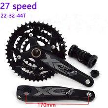 1 Pair JIANKUN 27 Speed Bike Crank Set 22/32/44T Bicycle Crank Set Hollow Tooth Plate 170mm Bicycle Crankset Sprocket цена и фото