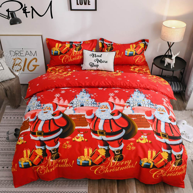 PAPA&MIMA Dropshipping christams bedding set microfiber Fabric Duvet Cover sets Pillowcases King Queen Double  twin size