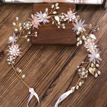 GETNOIVAS różowy kwiat z kryształkiem szpilki do włosów chluba Tiara perły wianek dla panny młodej szpilka do włosów biżuteria ślubna akcesoria do włosów SL tanie i dobre opinie CN (pochodzenie) Ze stopu cynku moda Metal Kobiety TRENDY 38929 PLANT