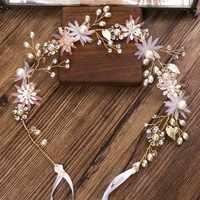 Rosa Blume Strass Haar Pins Kopfschmuck Tiaras Faux Perlen Braut Stirnband Haarnadel Haar Schmuck Hochzeit Kleid Zubehör SL