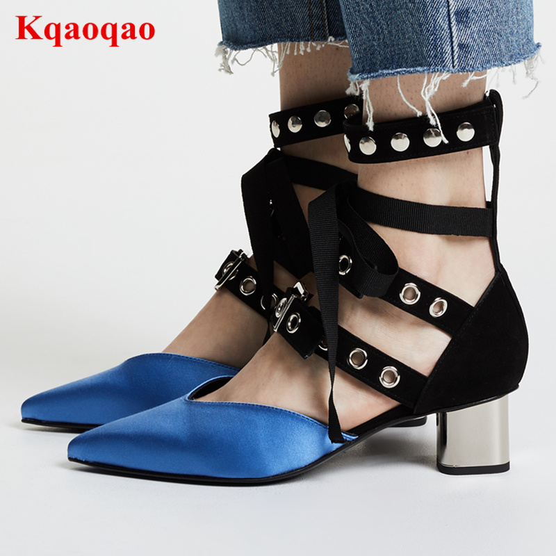 2018 Hot Shoes Woman Pointed Toe Women Pumps Chic Heels Rivets Embellished Shoes Women Cross-tied Sapato Feminino Narrow Band chic letters print band embellished women s knitted bowler hat