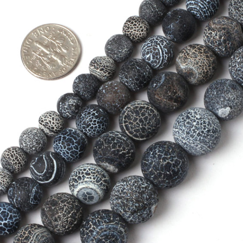 Round Matte Frost Black Agates Beads For Jewelry Making 6-12mm 15inches DIY Jewellery FreeShipping Wholesale Gem-inside
