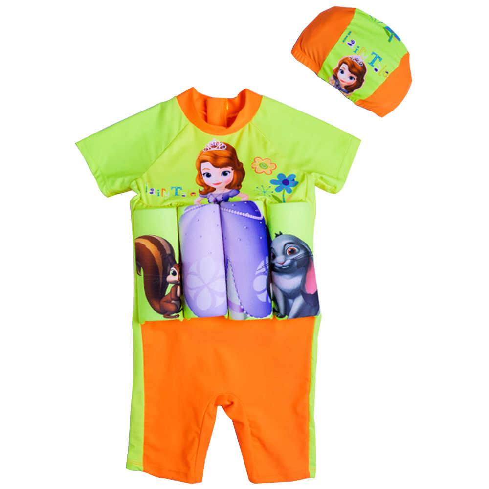 Плавающий купальный костюм для маленьких девочек Цельный Детский съемный купальник Thumbelina UPF50 + молния для высокого воротника