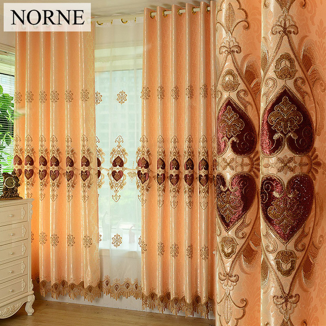 NORNE European Luxury Thermal Insulated Blackout Window Curtains Drapes Shades Blinds For Living Room Bedroom Embroider