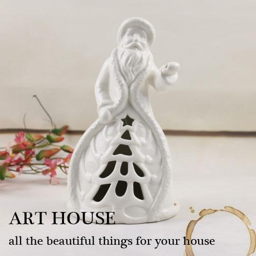 Ceramic White Santa Claus Candle Holder ceramic Candlestick home decor handicraft craft room decoration porcelain figurine