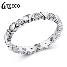 CUTEECO Fashion Silver Heart Clear CZ Finger Ring 2018 New Original Brand Rings for Women Wedding Jewelry Girlfriend Gift cuteeco hight quality silver color lovely bee adjustable ring for women original pan finger ring jewelry engagement gift