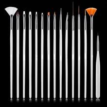 15pcs Professional UV Gel Acrylic Nail Art Brush Set Design Gel Polish Painting Drawing Pen Manicure Nails Tips Tools New Kit