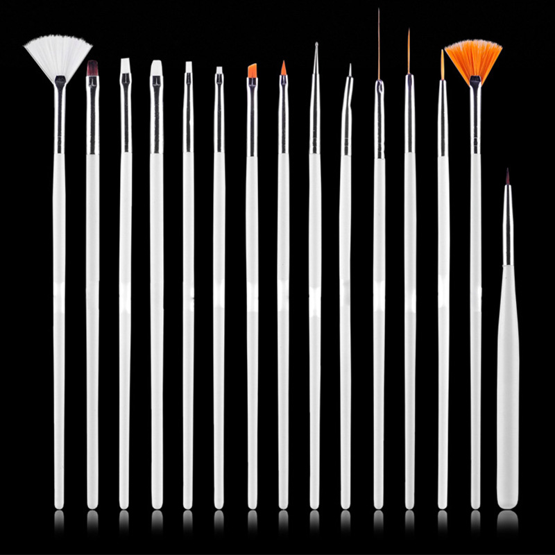15stk Professionell UV Gel Akryl Nail Art Brush Set Design Gel Polsk Målning Ritpenna Manikyr Naglar Tips Verktyg Nytt Kit