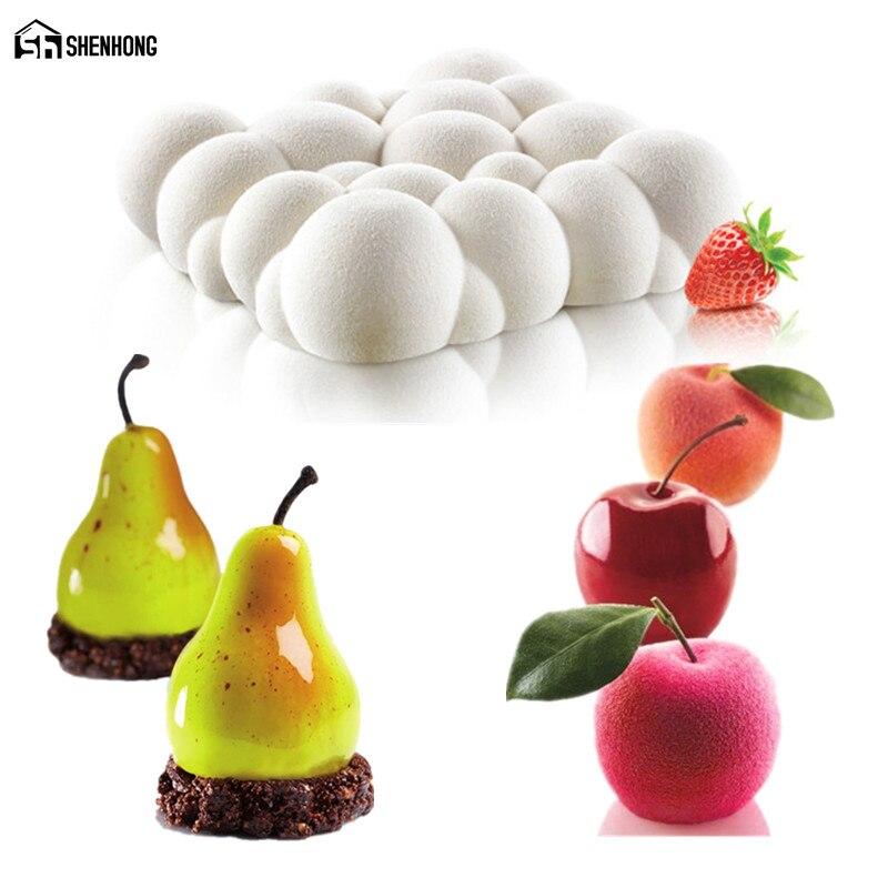 SHENHONG CIEL Nuage Et Poire Apple Mousse Moule Art Gâteau Moule de Cuisson Dessert Silicone 3D Silikonowe Moule Chocolat Pan Pâtisserie