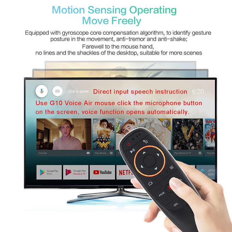 Mecool G10 Udara Mouse Kontrol Suara Nirkabel 2.4G Hz Google Mikrofon USB Receiver Smart Remote Control untuk Android TV Box