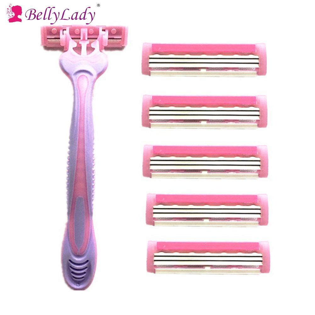 Female Body Hair Shaver Set 1PC Knife Holder + 6PCS 3-Layer Blades Hair Removal Shaving Machine Face Care Beard Hair Remover
