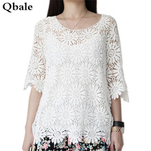 Qbale women lace tops female 2017 summer tops ladies hollow out flower crochet white t shirt tee shirt femme
