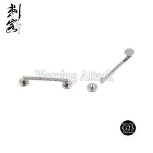 Image 2 - G23 Titanium Inwendige Schroefdraad Platte Surfacel Barbell Surface Piercing Sieraden 1.6*18*5Mm Lot Van 5Pcs lichaam Sieraden