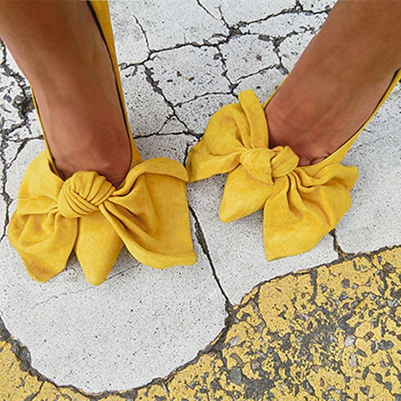 ФОТО Bright Yellow Bow Pumps Women Thin High Heels Pumps Pointed Toe Wedding Shoes Spring Party Shoes Sexy Ladies Suede Stiletto Pump