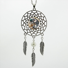 2017 Trendy Style Steampunk Cat Necklace Steampunk Clock Jewelry Dream Catcher Pendant Dreamcatcher Necklace DC-00356