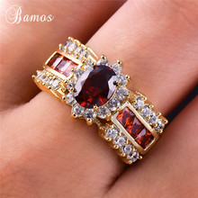 Bamos Female Male Yellow Gold Color Couple Rings Geometric F