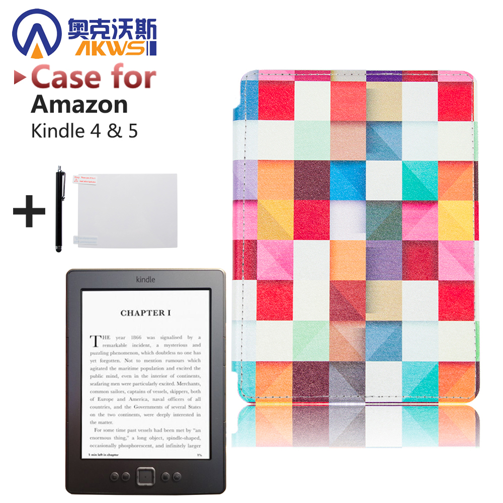 Printed PU Leather Cover high quality ereader case for kindle 4 kindle 5 ebooks(Not fit Touch) high quality faux leather stand cover case for pocketbook touch 622 623 624 626 ebook ereader